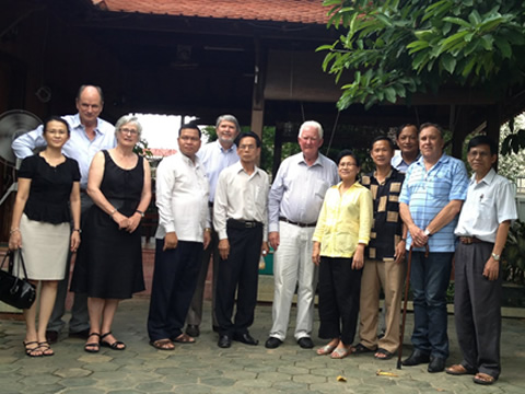 ill with CRI and Cambodian group at the home of HE You Bunleng, President of the Court of Appeal of Cambodia and one of his great friends